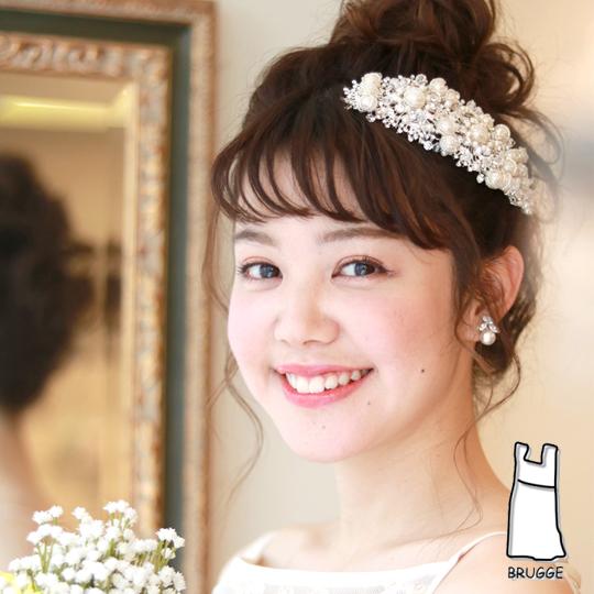 【実店舗レンタル商品】ボンネタイプのブライダル髪飾り B-195