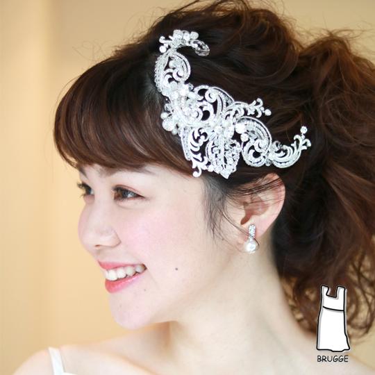 【ご遠方レンタル商品】エレガント系ブライダル髪飾り B-197