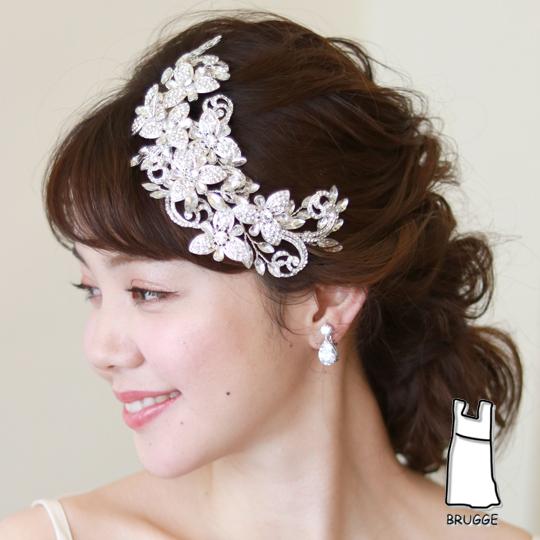 【新着商品】【店舗人気】大ぶりキラキラ華やかブライダル髪飾り B-323