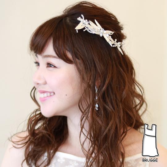 【実店舗レンタル商品】ブライダル髪飾り B-341★シルバーorピンクゴールドの2色展開★