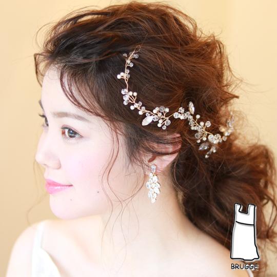 【新着商品】【海外挙式】小枝アクセサリー ブライダル髪飾り B-346 ★2色展開★シルバーorゴールド