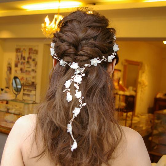 【ご遠方レンタル商品】ブライダルアクセサリー ラリエット風髪飾り B-074