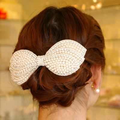 【ボンネタイプ】【パール系】リボン型髪飾り B-192