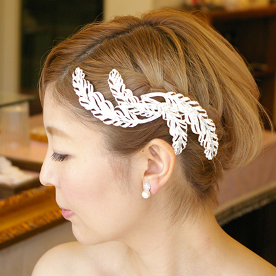 【リーフモチーフ】【クール系】ブライダル髪飾り B-301
