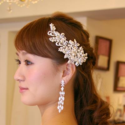 【大人ウエディング】【パール系】上品なブライダル髪飾り B-308
