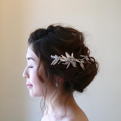 【新着商品】【店内人気】ブライダル髪飾り B-341★シルバーorピンクゴールドの2色展開★
