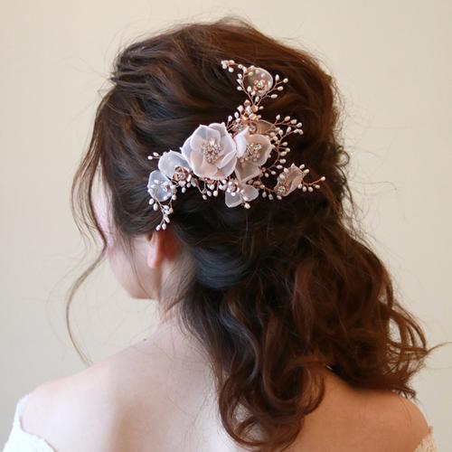 【新着商品】【カクテルドレス】【和装】お花のブライダル髪飾り B-343 ★シルバーorピンクゴールドの2色展開★