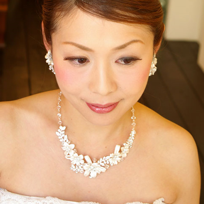 【実店舗レンタル商品】ブライダルネックレス&イヤリングセット DN-0181