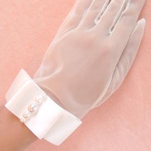 オーガンジーブライダル手袋 ショートグローブ GL-106