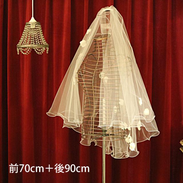 【ご遠方レンタル商品】ホワイトローズのベール V-214(70+90)