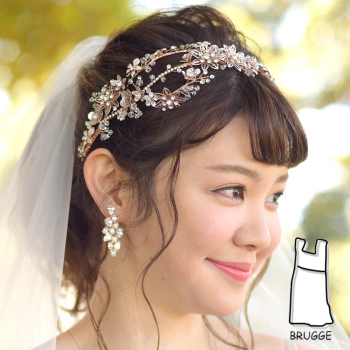 【実店舗レンタル商品】カチューシャタイプのブライダル髪飾り【ピンクゴールド】 B-377RG