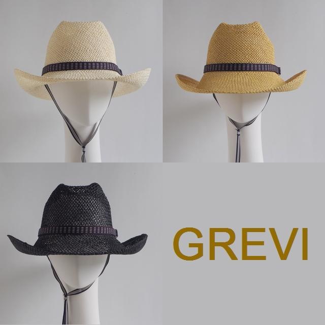 【GREVI  グレヴィ】メンズ&レディース 中折れ ハット 紐付き ストローハット 麦わら帽子 UVカット 麦わら 帽子 テンガロンハット イタリア直輸入<GREVI ブレード帽子公式ショップ>★送料無料