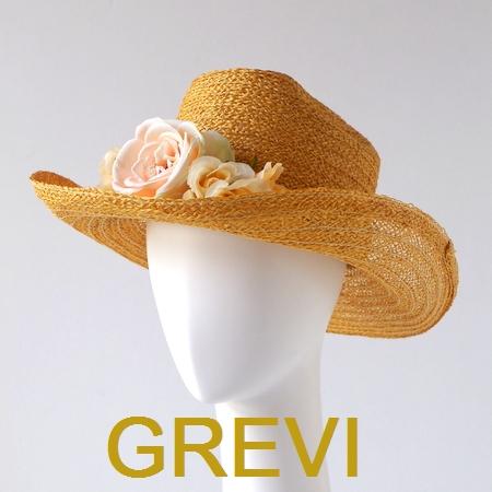 【grevi  中折れ】ストローハット フラワー バラ グレヴィの麦わら帽子 イタリア直輸入 つば広 ハット UV帽子 紫外線防止 フィレンツェ★送料無料