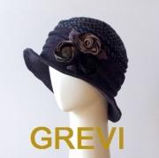 【grevi  ツィード  帽子】おしゃれ帽子 グレヴィの花コサージュ 帽子 ブラウン firenze イタリア 直輸入  ハット フィレンツェ★送料無料