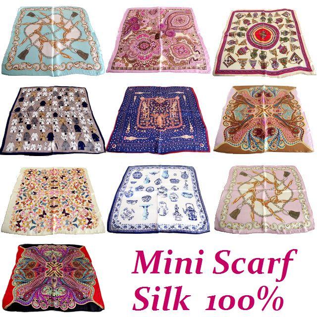【ミニスカーフ】シルク100% ミニ プチ スカーフ 絹 シフォン ポケットチーフ メンズ SILK UV 花 ちょうちょ ペイズリー プチスカーフ★メール便対応