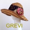 【グレヴィ GREVI  ハット】花 コサージュ付のブレードハット フラワー つば広 イタリア直輸入 UV帽子 紫外線防止 フィレンツェ<GREVI ブレード 帽子 公式ショップ>★送料無料