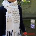 ニット マフラー ストール かわいい 手編み 毛糸のストール マフラー レディースのポップコーンの柄 ギフトに最適!ニット白 マフラー