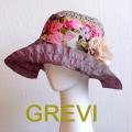 【GREVI  ハット】花 コサージュ付のブレードハット フラワー つば広 イタリア直輸入 UV帽子 紫外線防止 フィレンツェ<GREVI ブレード 帽子 公式ショップ>★送料無料