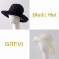 【GREVI グレヴィ】折りたたみ帽子 透かし 花柄 おしゃれ帽子 ブレードハット 黒 白 つば広  イタリア直輸入★送料無料