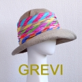 【グレヴィ GREVI  帽子】イタリア帽子 ストライプ ハット リネン デニム ベージュ UV帽子 紫外線防止 フィレンツェ<GREVI ブレード 帽子 公式ショップ>★送料無料