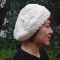 ニット ベレー帽 かわいい ニット帽 レディース ベレー ワッチ ニットキャップ 白 黒 手編み 毛糸 帽子★メール便対応