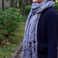 【ニットマフラー】ロングの毛糸のストール マフラー メンズ・レディースのケーブル編み ギフトに最適!ケーブルニットマフラー