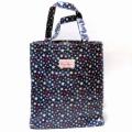 【Candy Flowers】ブックバッグ A4書類も楽々入るビニールバッグ/スィートローズ/スポット ピンク/ 雨の日用