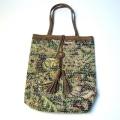 【ハンドメイドバッグ】手作り/バッグ キルティング風の手作りのバッグ(レザートート)