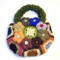 【ニットバッグ】手編みのハンドメイドバッグ ニットのお花の手作りバッグ(毛糸)