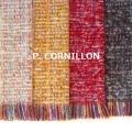 P.CORNILLON(コルニヨン)マフラー ツィード レディース ミックスツィード フリンジ ストール もこもこ ふわふわ 秋冬 冬 フランス製 ホワイト グレー 黄色 赤★メール便対応