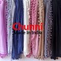 ポンポン ストール Chunni 無地8カラー  コットン・シルクのスカーフ<CITRUS・Mattaで人気のタッセル>★メール便対応