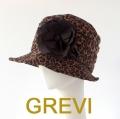 grevi おしゃれ帽子 グレヴィのシルクのコサージュつき帽子 アニマル柄 レオパード firenze イタリア 直輸入  ハット フィレンツェ★送料無料