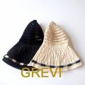 GREVI グレヴィ 折りたたみ帽子 おしゃれ帽子 ブレードハット 黒 白 つば広  レース イタリア直輸入★送料無料