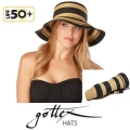 【gottex ゴテックス】折りたたみ帽子 ブラック/ホワイト UPF50+ /UV帽子/ひよけ帽子・ハット<gottex 折りたたみ帽子の専門店>★送料無料