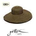 【gottex ゴテックス】つば広ハット 折りたたみ 麦わら帽子のつば広 UPF50+ /UVカット ツバ広 ストローハット ブラック ゴールド 帽子・ハットの通販ショップ★送料無料