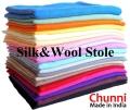 【Chunni】シルクウール ストール 高品質 オリジナルのシルク ウールの大判ストール/無地20カラー/パシュミナ・カシミアの肌触り★メール便対応