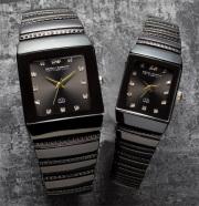 ペレバレンチノ(PERVALENTINO)ダイヤモンドミラノ角時計//ブラック文字盤