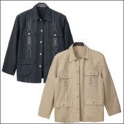綿麻混紡・長袖刺繍入り ジャケット2色組