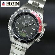 ELGIN エルジン NEW1点ダイヤ 電波ソーラーウォッチ レッド