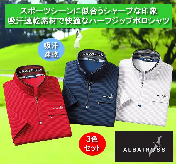 アルバトロス ボーダー柄ハーフジップポロシャツ同サイズ3色組 / ALBATOROSS