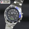 ELGIN エルジン NEW1点ダイヤ 電波ソーラーウォッチ ブルー