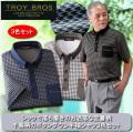 トロイ・ブロス 千鳥柄半袖シャツ同サイズ3色組 / TOROY BROS