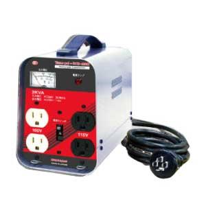 【送料無料】単相 単巻 降圧用変圧器 200V→100/115V 容量2KVA 小型・軽量