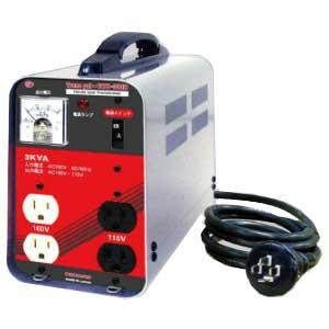 【送料無料】単相 単巻 降圧用変圧器 200V→100/115V 容量3KVA 小型・軽量