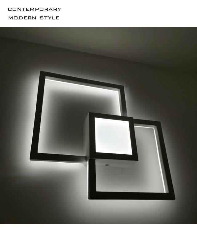 お洒落な壁照明_wall_square 明るい2000ルーメン LED暖色と白色の二色調温 高級ホテルスタイル