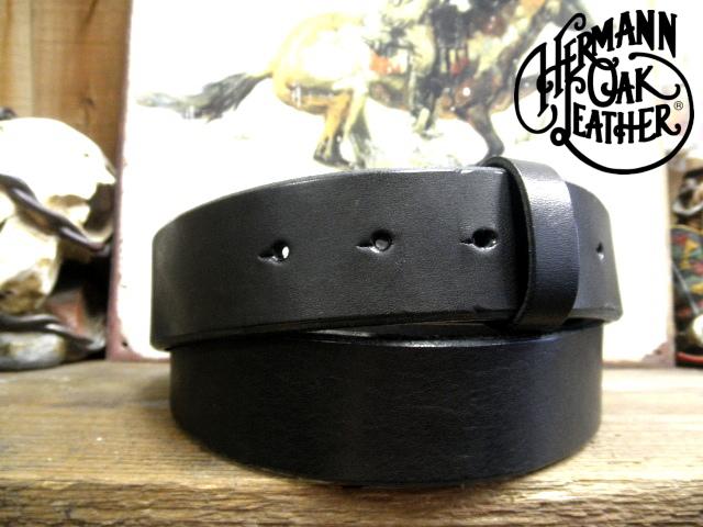 アメリカ製ハーマンオークレザーベルト【ブラック】35mm/付属バックルなし ベルト帯のみ/ショートサイズベルト