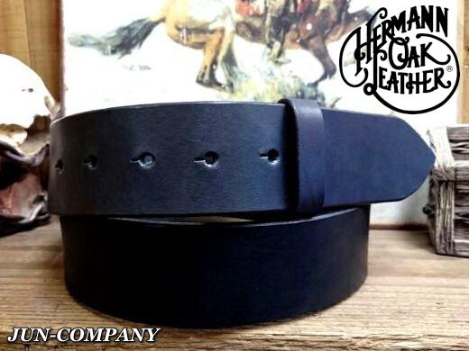 アメリカ製ハーマンオークレザーベルト【ブラック】45mm/付属バックルなし ベルト帯のみ/ショートサイズベルト
