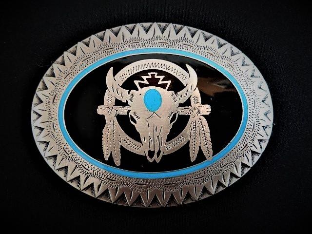 IVAN TROPHY BUCKLE Oval Bull Skull