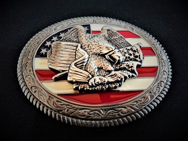 IVAN TROPHY BUCKLE USA Flag Eagle