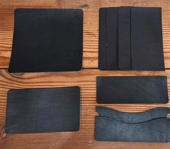 手縫いレザーロングウォレット キット/栃木レザー【ブラック】 フラップ無し